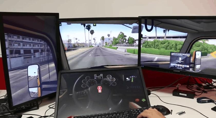 American Truck Simulator - Custom 4-monitor Test - American