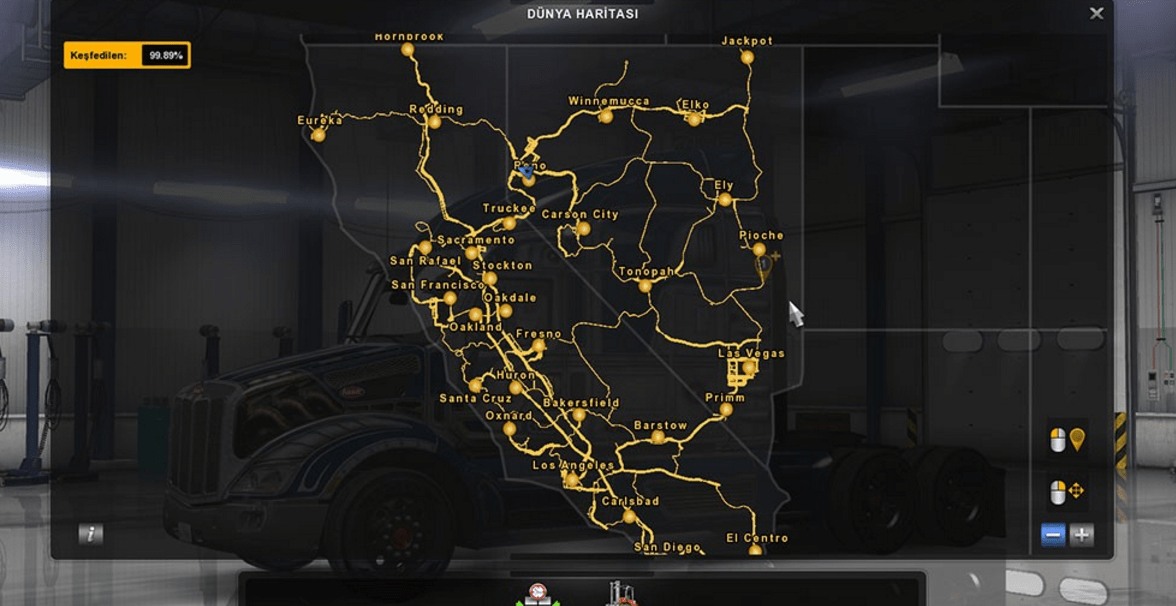 100% Maps Save File - American Truck Simulator mod | ATS mod