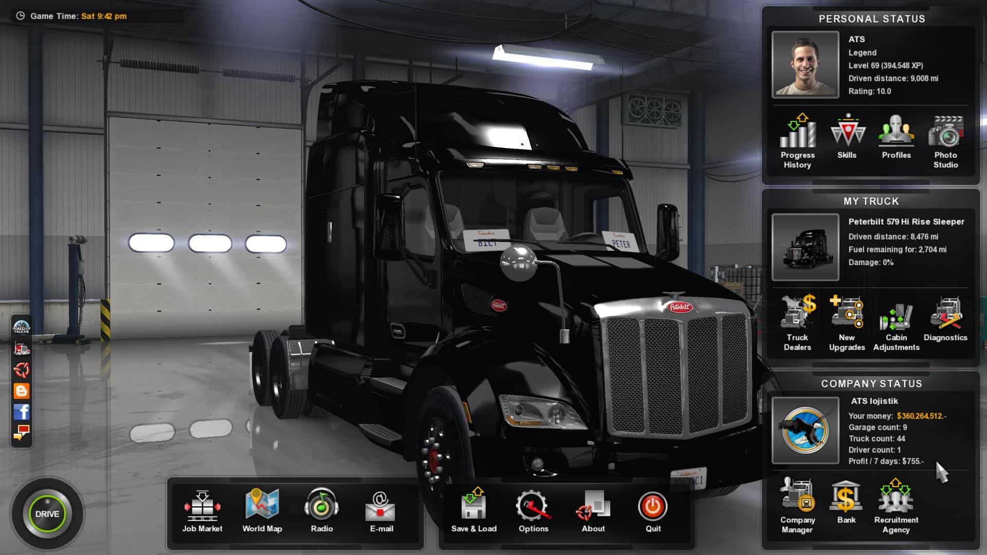 100% SAVE GAME + FREE CAM ATS - American Truck Simulator mod