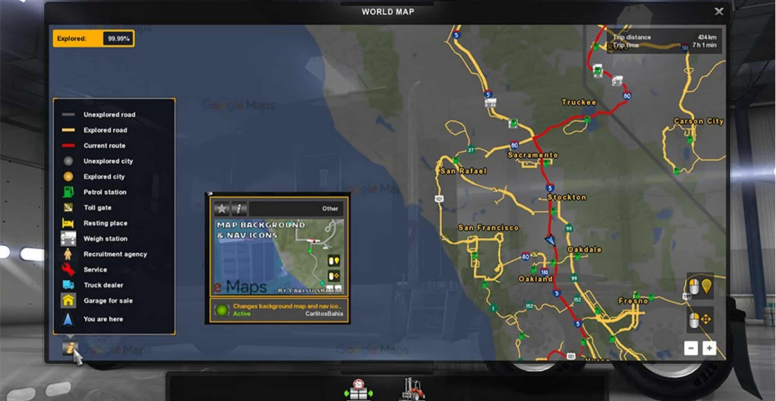 Background map and nav icons (map, gps and route advisor