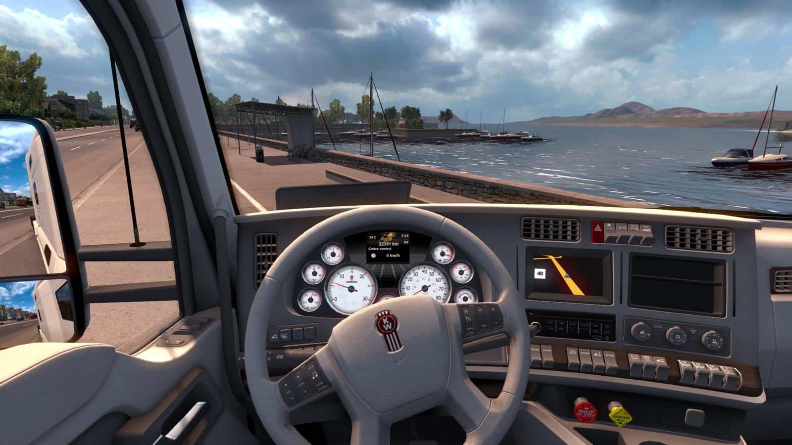 KENWORTH T680 WHITE GAUGES TRUCK + INTERIOR V1.2