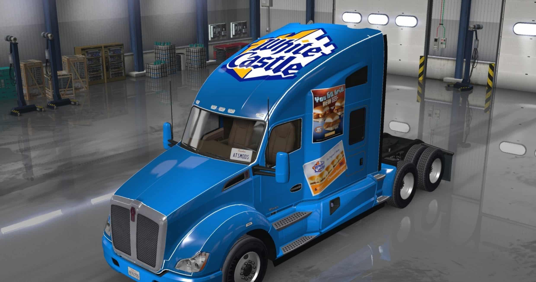 kenworth t680 truck white castle skin - american truck simulator