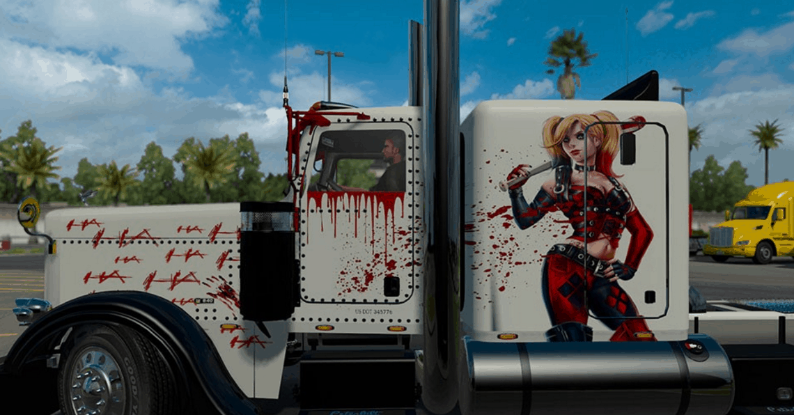 Peterbilt 389 Harley Quinn Skin For Ats