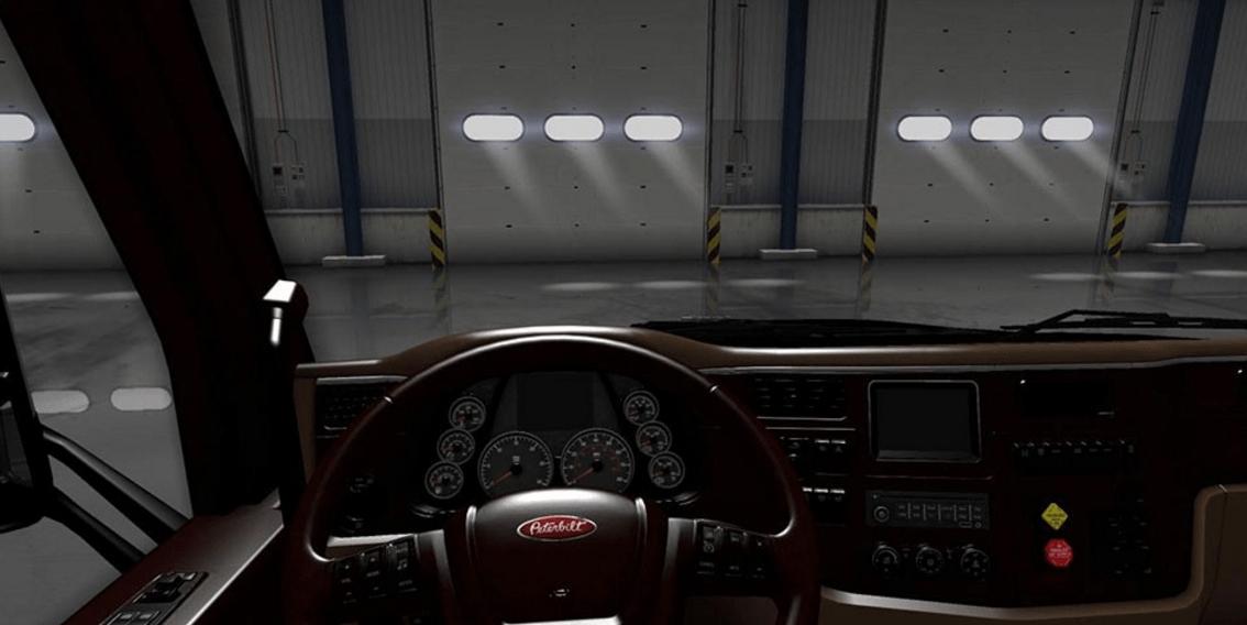 peterbilt 579 lux brown interior mod american truck simulator mod ats mod. Black Bedroom Furniture Sets. Home Design Ideas