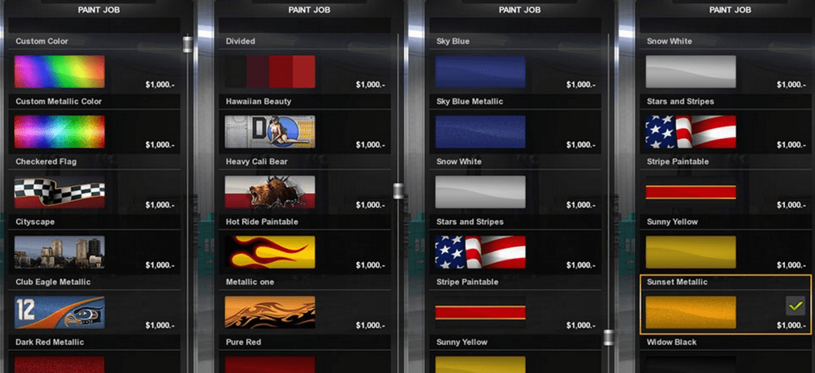 Car Paint Job Cost >> Unblocks all the Paintjobs / Cost : $1000 mod - American ...