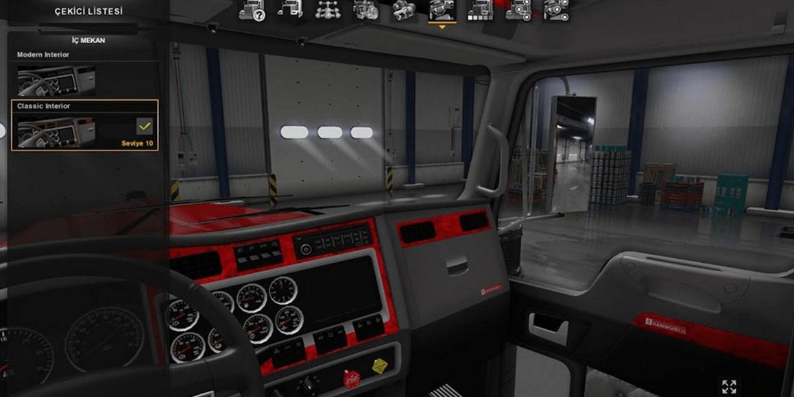 kenworth w900 interior red mod american truck simulator mod ats mod. Black Bedroom Furniture Sets. Home Design Ideas