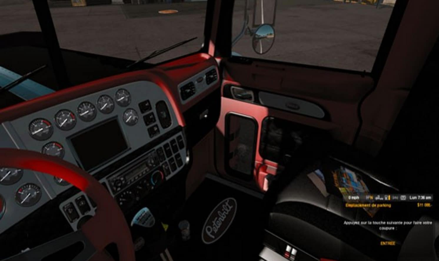 Peterbilt red and black interior mod american truck simulator mod ats mod for Black casket with red interior