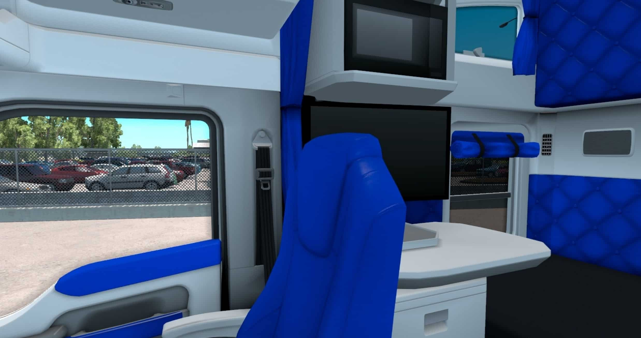 white and blue interior for kenworth t680 mod american truck simulator mod ats mod. Black Bedroom Furniture Sets. Home Design Ideas