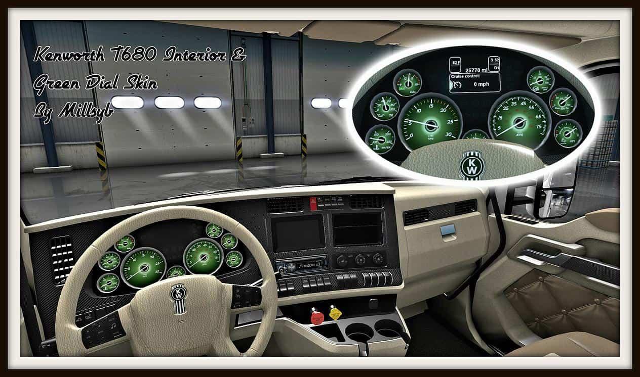 Kenworth T680 Interior Green Dial Skin Ats American Truck Simulator Mod Ats Mod