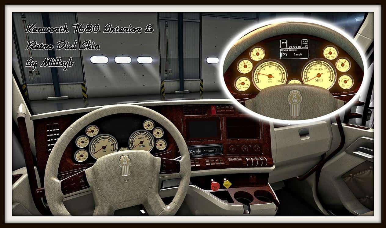 Kenworth T680 Interior Retro Dial Skin American Truck Simulator Mod Ats Mod