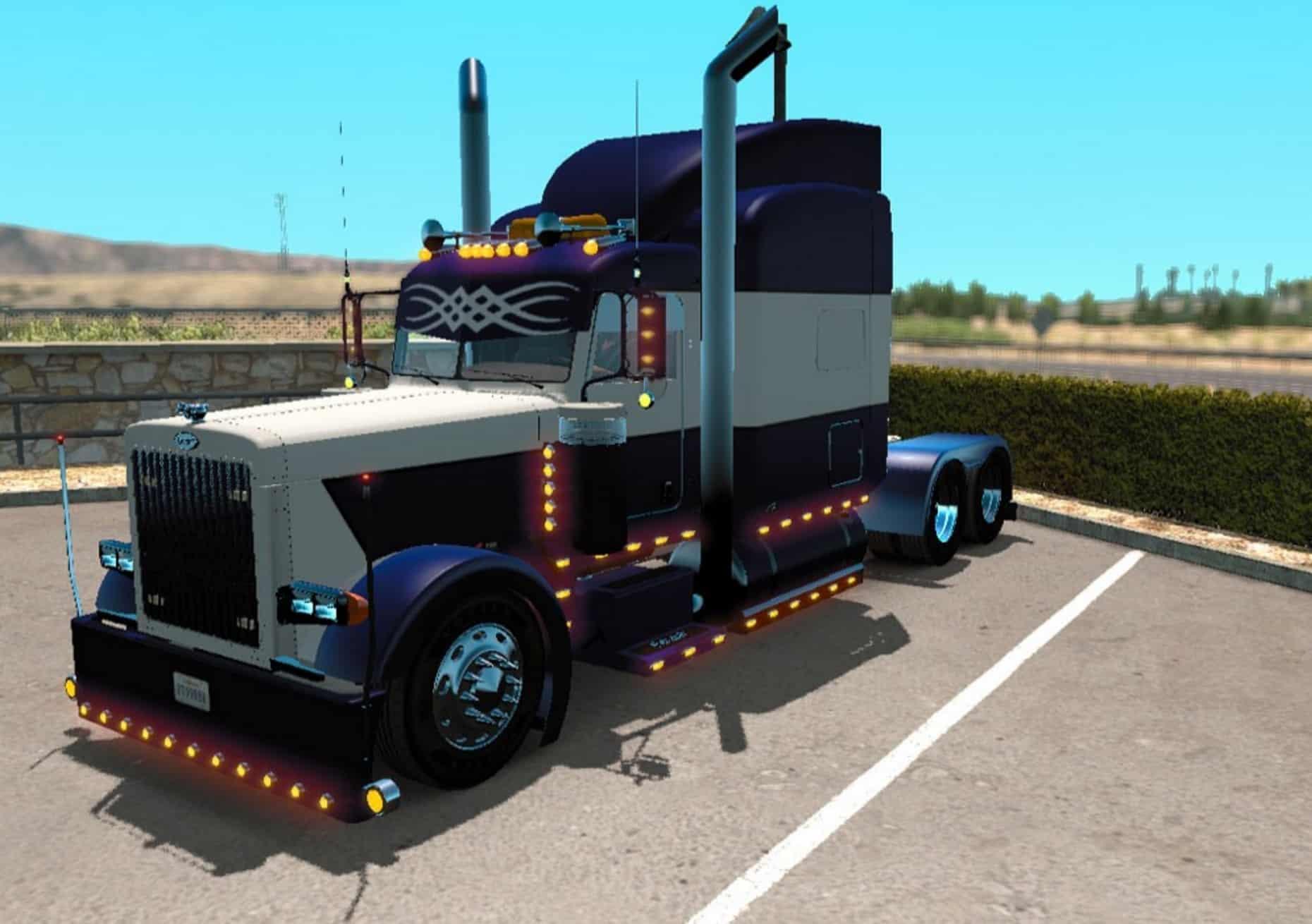 Peterbilt 389 Blue And White Skin Mod American Truck Simulator Mod Ats Mod