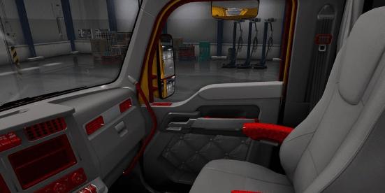 kenworth t680 red grey interior ats american truck simulator mod ats mod. Black Bedroom Furniture Sets. Home Design Ideas