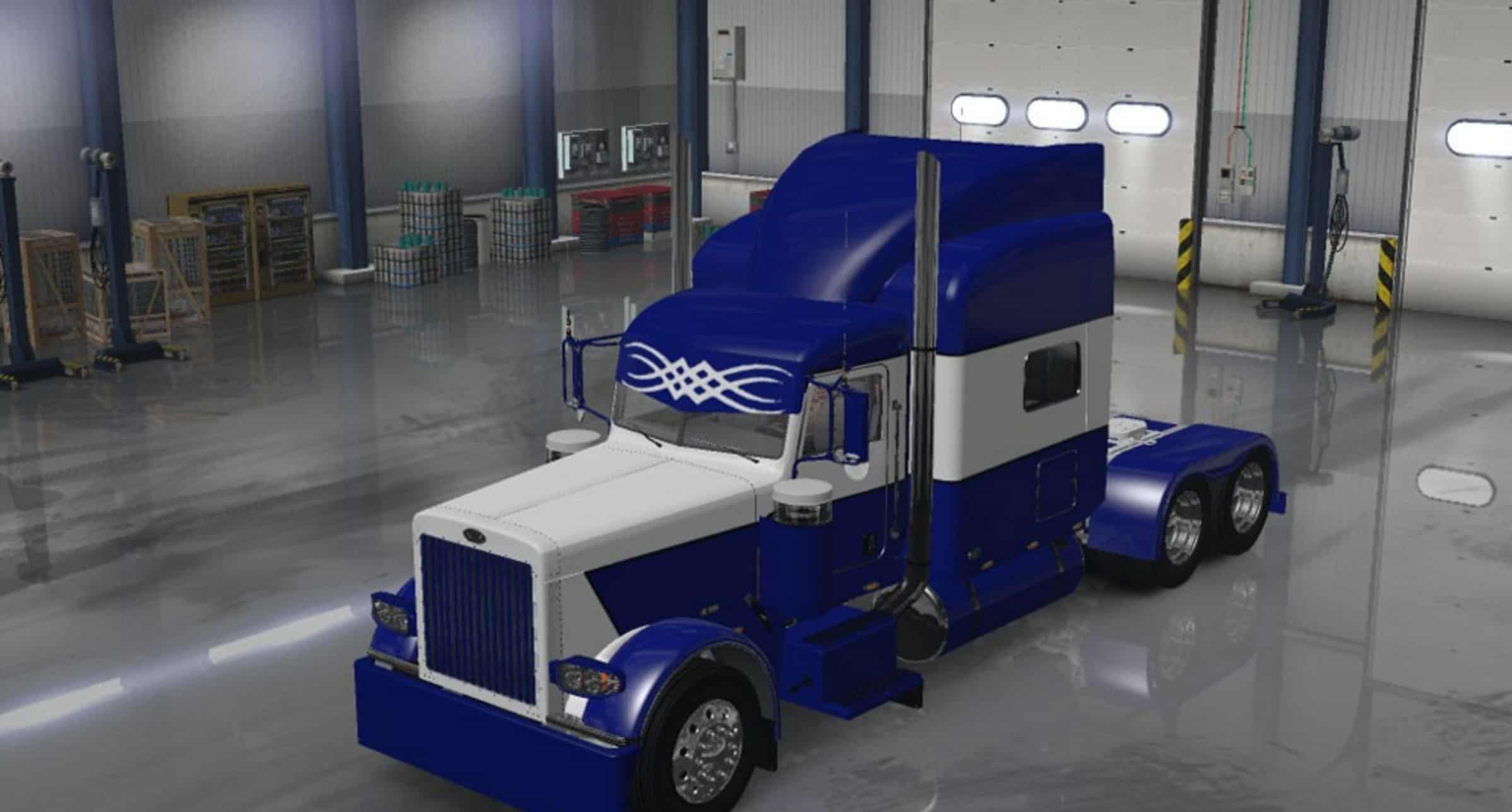 Peterbilt 389 Blue And White Skin Update For Ats American Truck Simulator Mod Ats Mod
