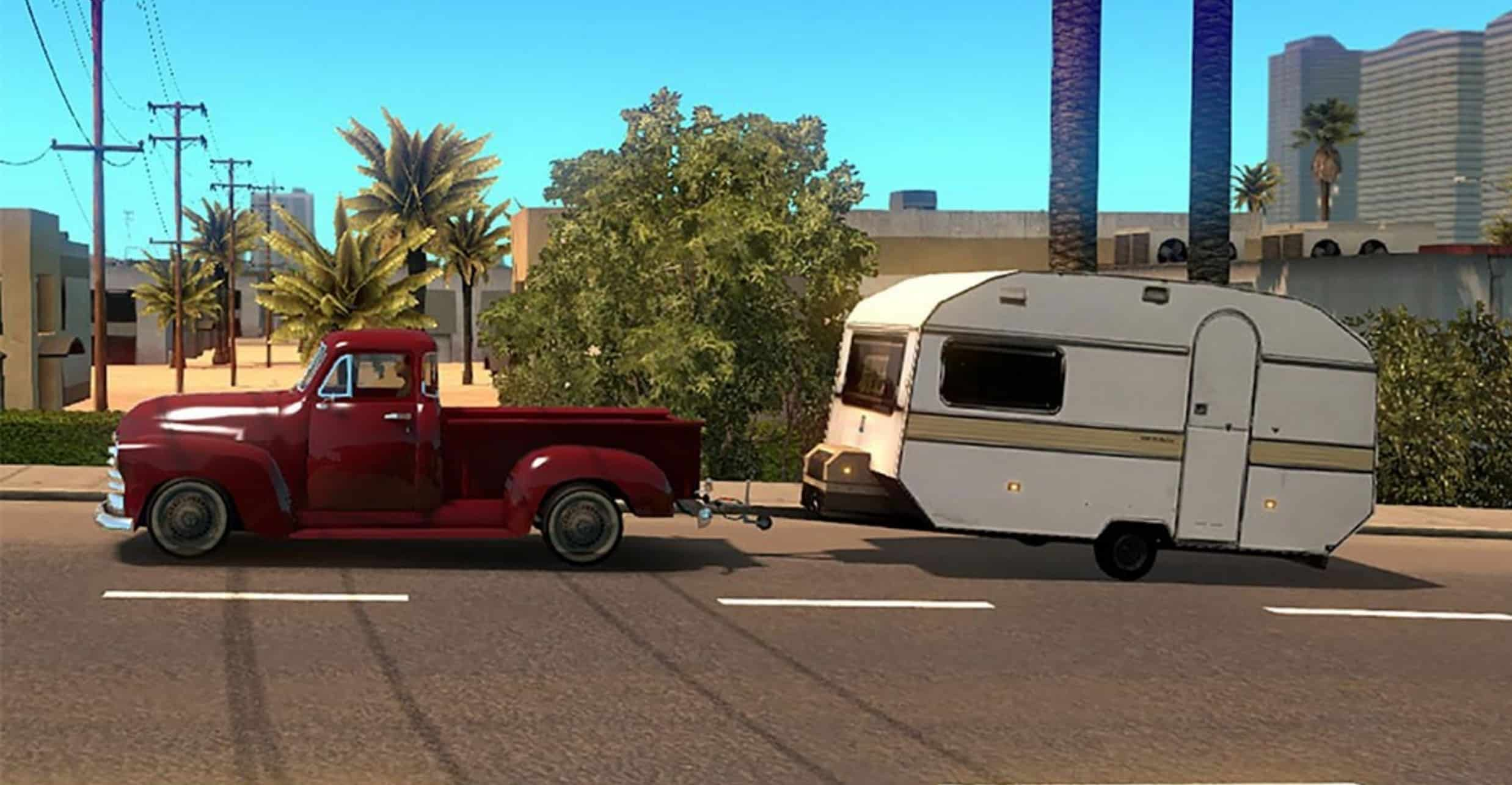 Cars with caravans a i  traffic Mod - American Truck