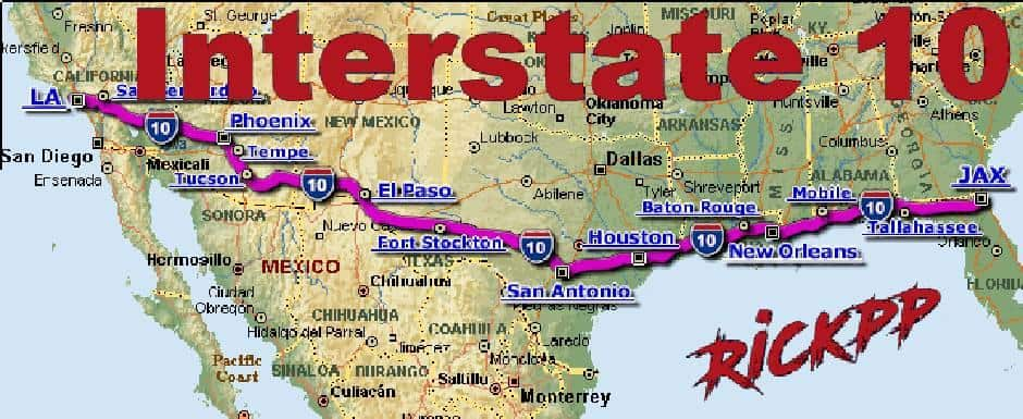 Map Of Us Interstate 10 INTERSTATE 10 V1.1 MAP   American Truck Simulator mod | ATS mod